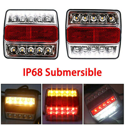 2Pcs Rear LED Submersible Trailer Tail Lights Kit Boat Marker Truck  Waterproof
