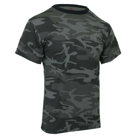 img-Military Camo T-shirt Black Dark Camouflage Cotton Polyester Blend Rothco 1864