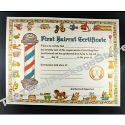 Kyпить 12 Pack My First Haircut Certificate Salons & Barber Shops 8.5 X 11 w/ FREE Bags на еВаy.соm