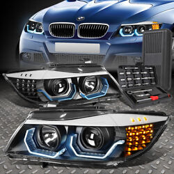 Kyпить FOR 09-12 BMW 3-SERIES E90 4-DR LED 3D U-HALO PROJECTOR HEADLIGHT+TOOL SET BLACK на еВаy.соm