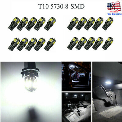 20 x Canbus T10 194 168 W5W 5730 8 LED SMD Car Side Wedge Light Lamp Bulb White