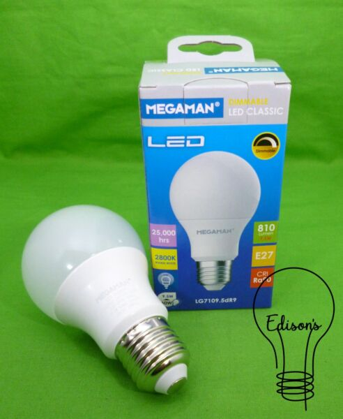 9.5 Watt Dimmable LED Classic GLS Light Bulb Warm White Megaman 142502