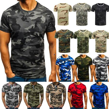 img-Mens Military Camo T-Shirt Short Sleeve Sports Gym Casual Summer Combat Tops Tee