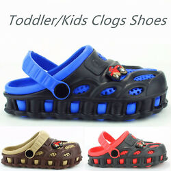 Boys Kids Garden Clogs Shoes Toddler Slip-On Casual Two-tone Slipper Sandals