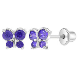Kyпить Rhodium Plated Tiny Purple CZ Butterfly Screw Back Earrings Toddlers Kids Babies на еВаy.соm