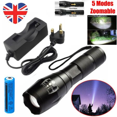 img-Tactical Torch Super Bright Powerful Police 990000LM Lamp T6 LED Flashlight Set