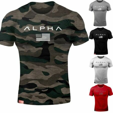 img-Alpha Men's Gym T-Shirt Bodybuilding Fitness Training Workout Muscle Top New Tee