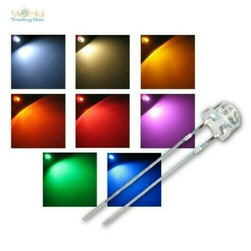 AllemagneTête Plate Leds 4,8mm, Strawhead LED Divers. Couleurs, Flathead LED Diodes