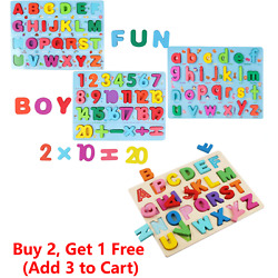 Kyпить Wooden Alphabet Number Puzzle Board Toddler Educational Early Learning Toys на еВаy.соm