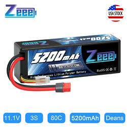 Kyпить Zeee 5200mAh 80C 3S 11.1V Deans LiPo Battery Hardcase for RC Car Helicopter Boat на еВаy.соm