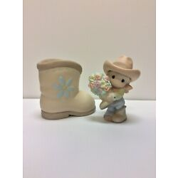Precious Moments You Bet Your Boots I Love You cowboy/cowgirl boot vase 120121
