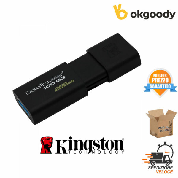 KINGSTON PENDRIVE 256GB DT100G3/256GB USB 3.0 NERO