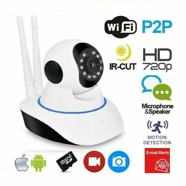 TELECAMERA IP CAMERA HD 720P WIRELESS LED IR LAN MOTORIZZATA WIFI RETE INTERNET.