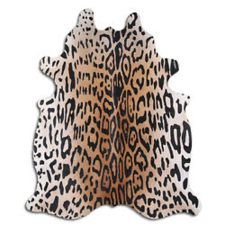 Real Cowhide Rug Amazon Jaguar Size 6 by 7 ft, Top Quality, Large Size