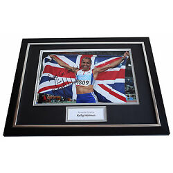 Kelly Holmes SIGNED FRAMED Photo Autograph 16x12 display Olympics Athens 2004