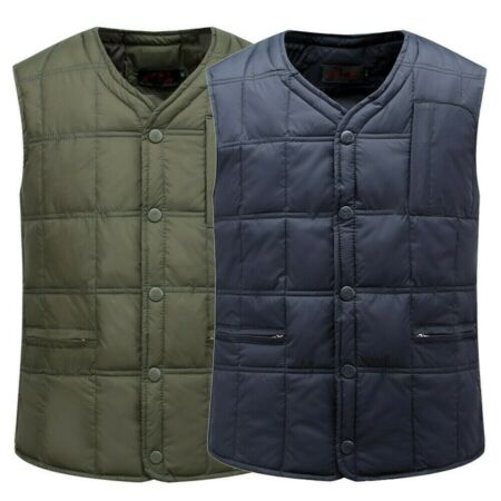 img-Mens Duck Down Quilted Waistcoat Gilet Padded Puffer Bubble Vest Jacket Warm I1