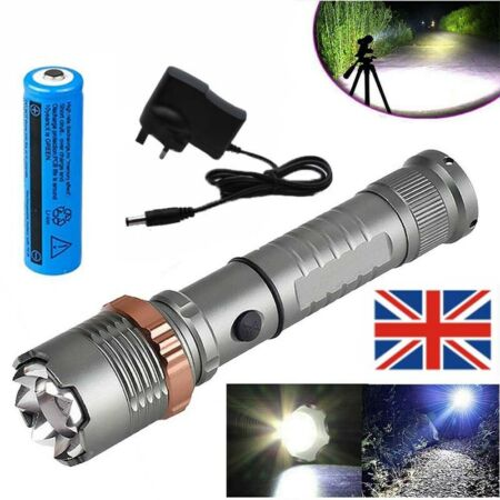 img-990000LM LED Light Rechargeable Flashlight Tactical Torch Lamp+Battery+Charger
