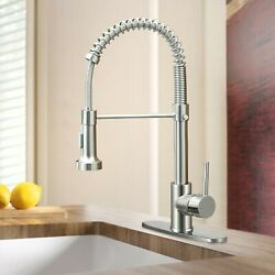 Kyпить Brushed Nickel Kitchen Faucet Solid Brass Single Handle Pull Down Sprayer Spring на еВаy.соm