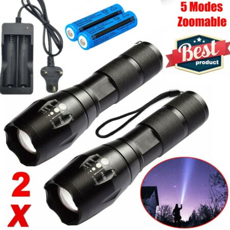 img-2Set Ultra Bright 990000LM Flashlight LED Light Tactical Rechargeable Torch Lamp