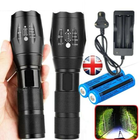 img-2Set 900000LM Flashlight LED T6 Tactical Rechargeable Torch Lamp+Battery+Charger