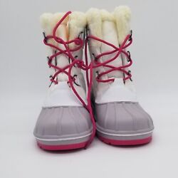 Girl's Roma Winter Boots Cat And Jack  (White And Pink)
