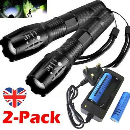 img-2PC Tactical LED Light Flashlight Super Bright 990000LM Rechargeable Torch Lamp
