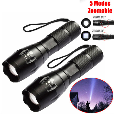 img-2Pack Powerful Torch Lamp LED Flashlight Tactical Police 18650 Zoomable T6 Light