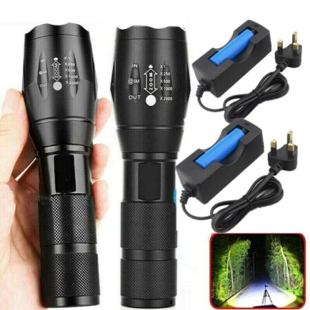 img-900000LM LED Flashlight Tactical Torch Lamp 18650 Rechargeable+Battery+Charger