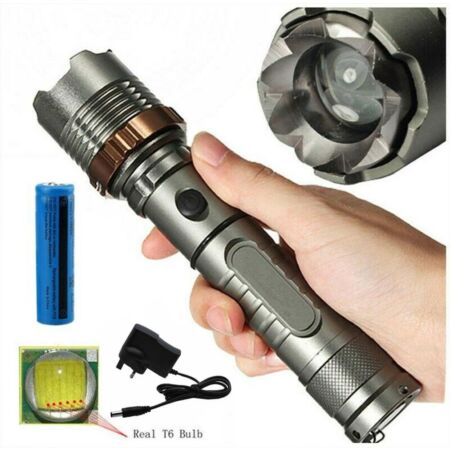 img-990000LM LED Flashlight Tactical Torch Lamp Zoomable Rechargeable+18650+Charger