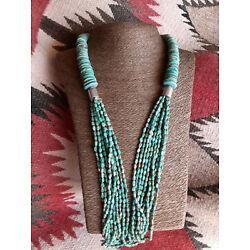 Kyпить Turquoise & Silver Necklace 10  Strands & One 18-10mm Graduated Turquoise Strand на еВаy.соm