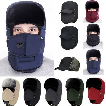 img-Mens Winter Aviator Bomber Wolly Ear Flap Hat Warm Soft Ski Cap Trooper Trapper