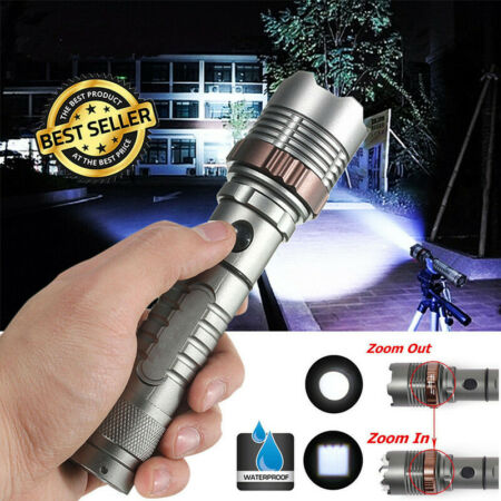 img-990000Lumens Super Bright Tactical LED Flashlight Zoomable Torch Lamp Waterproof