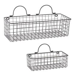 DII Assorted Rustic Farmhouse Vintage Wire Wall Basket Set of 2, Black