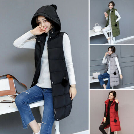 img-Women Winter Warm Vest Long Slim Hooded Quilted Jacket Puffer Waistcoat Coats