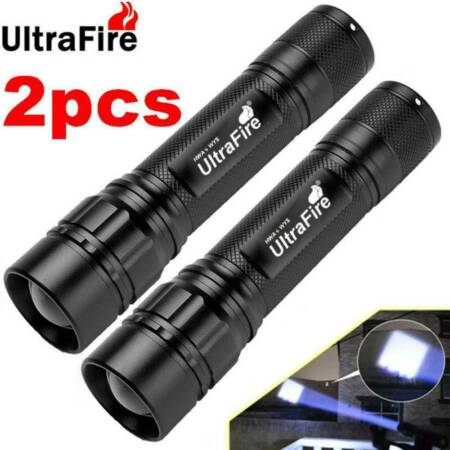 img-2pcs Ultrafire Tactical Zoomable Flashlight T6 LED 18650 50000LM Torch Lamp UK