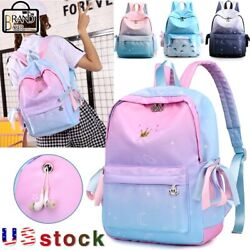 Girls Crown Embroidery Student Backpack Side lace up Gradient color School Bag