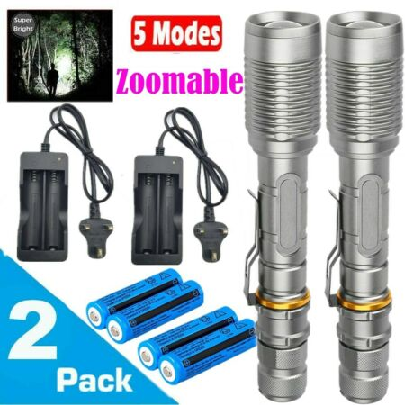 img-Ultra Bright 990000lm Flashlight LED Tactical Zoomable Torch Lamp+Batt+Charger