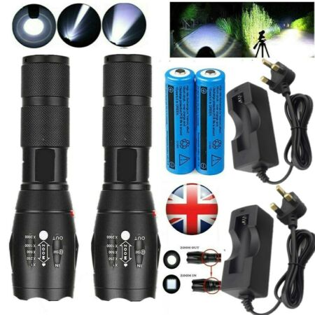 img-High Power T6 Led Torch 990000LM Tactical Police Flashlight 5Modes Lamp Zoomable