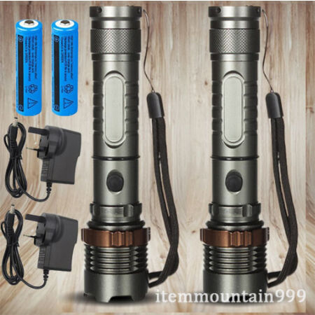 img-2PACK High Powered Torch T6 LED Flashlight Zoomable Lamp Rechargeable Work Light