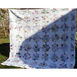 Kyпить VTG HAND QUILTED PATCHWORK 8 POINT STAR QUILT SOME FEEDSACK 85