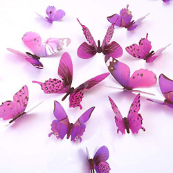 Butterfly Wall Decals, 24 Pcs 3D Butterfly Removable Mural Stickers (Purple)
