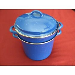 Kyпить Marlboro large blue enamel ware stockpot with strainer/steamer and lid на еВаy.соm