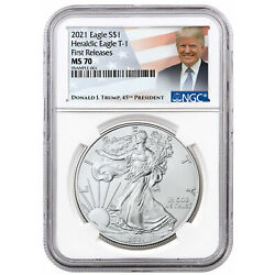 Kyпить 2021 American Silver Eagle T-1 NGC MS70 First Release Trump Label PRESALE на еВаy.соm