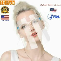 Kyпить ✅ 10 PACK Face Shield Guard Mask Safety Protection With Glasses Reusable Shields на еВаy.соm
