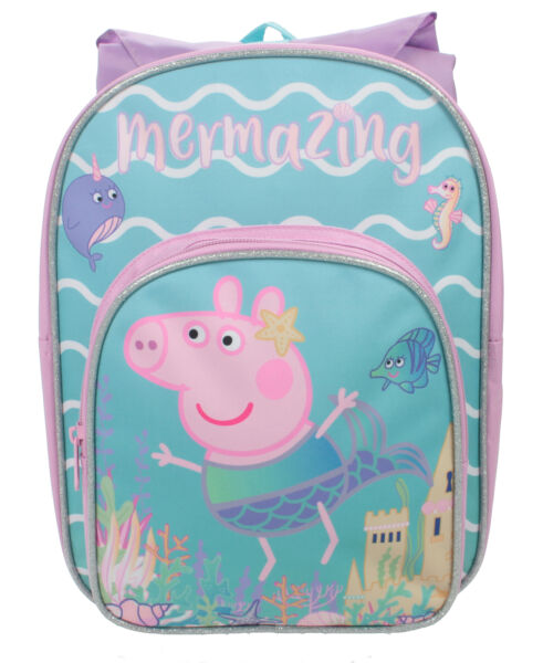 GroßbritannienPeppa Pig Mermaid Hooded Front Pocket Backpack Pink Girls Pre School  Bag