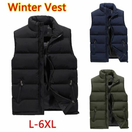 img-Men's Winter Warm Down Quilted Vest Body Warmer Sleeveless Padded Jackets Coats