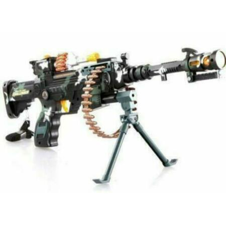 img-1 Kids Combat 3 Army Commando Machine Gun Pistol With Lights And Sounds Toy Gift