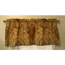 VALANCES Window Treatment Rod Pocket Lined GOLD Rust Green 19.5x51 Inches