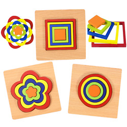 Kyпить 3 Pack Kids Wooden Puzzle Building Blocks Toys Shapes Early Learning Educational на еВаy.соm