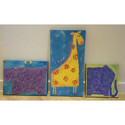 Kyпить Cute Animal Canvas Art for Kids Room/Nursery - Giraffe, Elephant and Hippo на еВаy.соm
